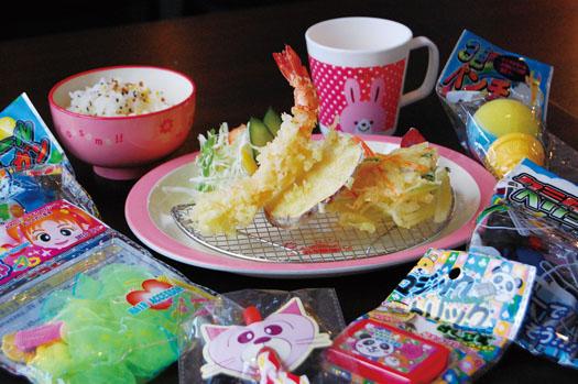 天ぷら3品、ご飯、サラダ、ジュース、ゼリーと選べるおもちゃ(1個)が付く「お子様天ぷら(480円)」