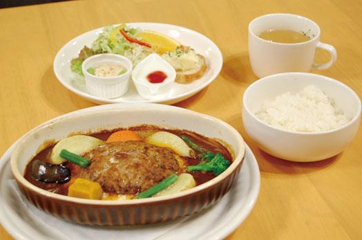 お得なセット(スープ、サラダ、ドリンク付き)の「みそデミソースの煮込みハンバーグ(1000円)」